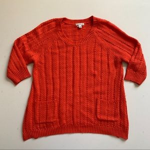 HANNAH Orange Coral Pocket Front Knit Sweater